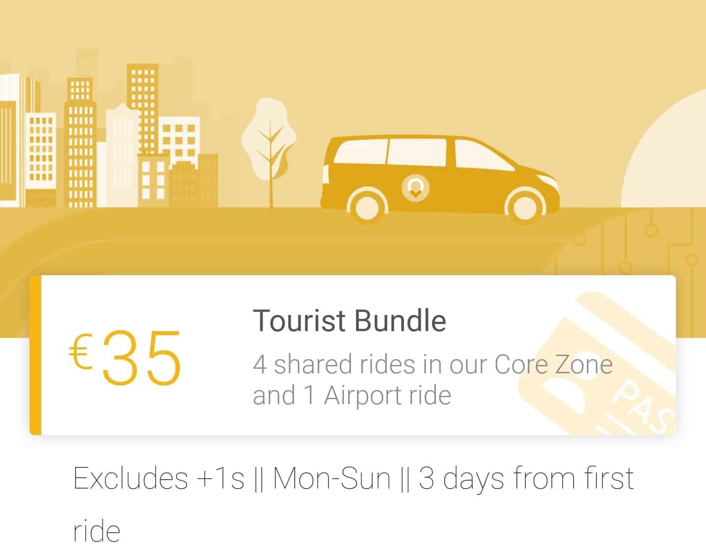ViaPass touristen bundel met 4 gedeelde ritten in de core en 1 rit naar de luchthaven