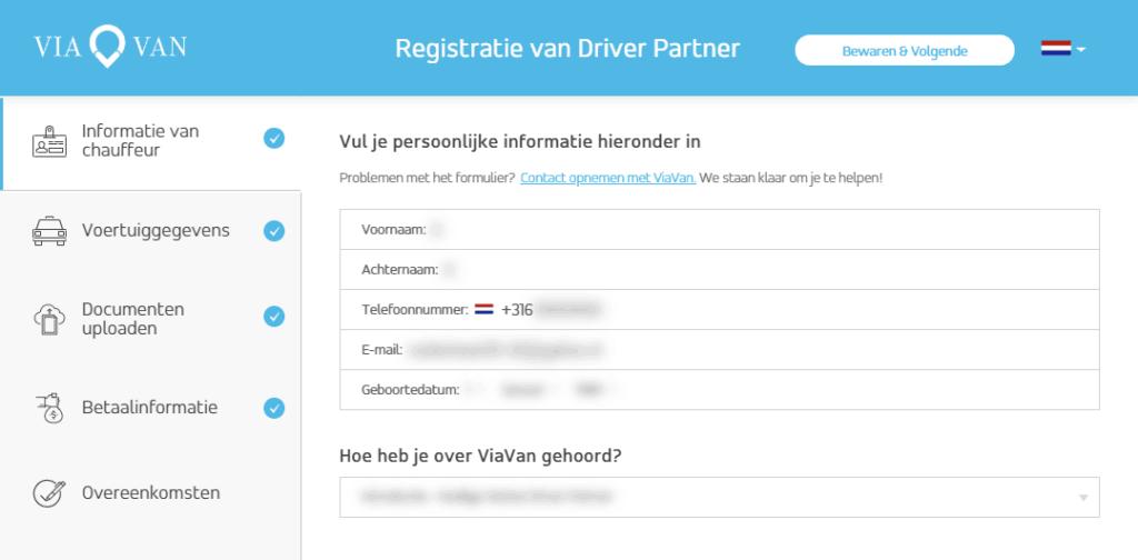ViaVan registratie scherm met informatie over de chauffeur
