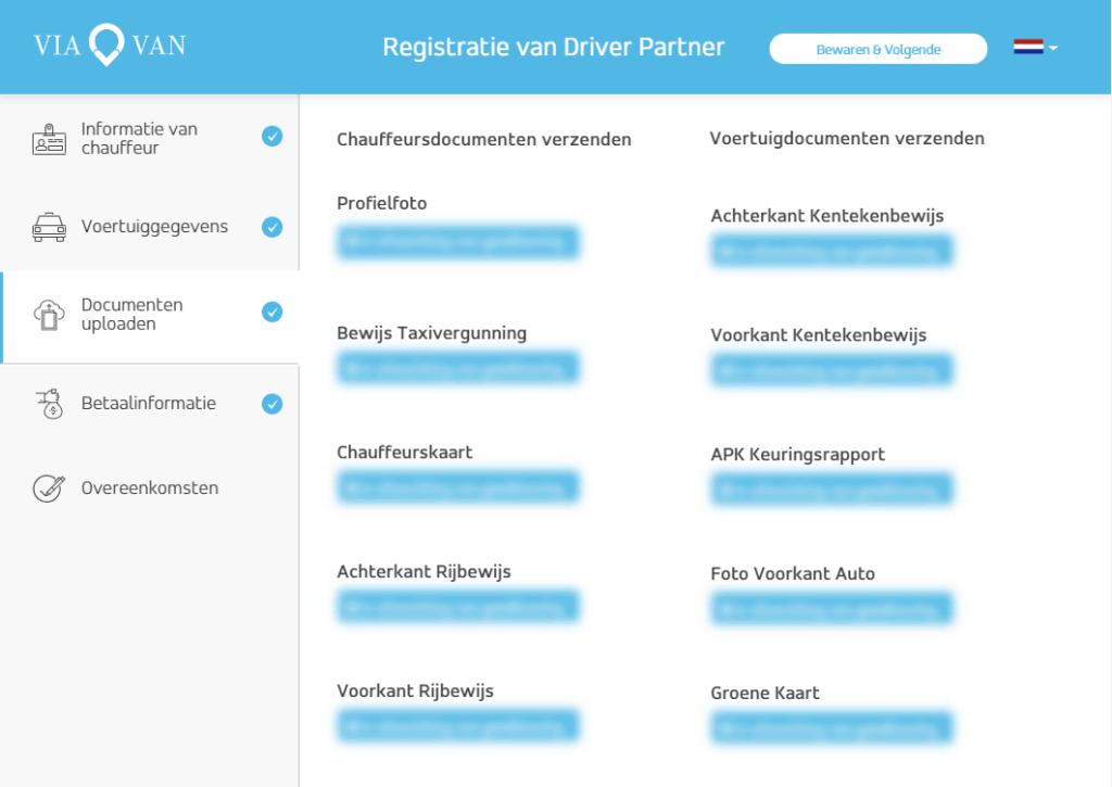 ViaVan registratie scherm met geüploade documenten