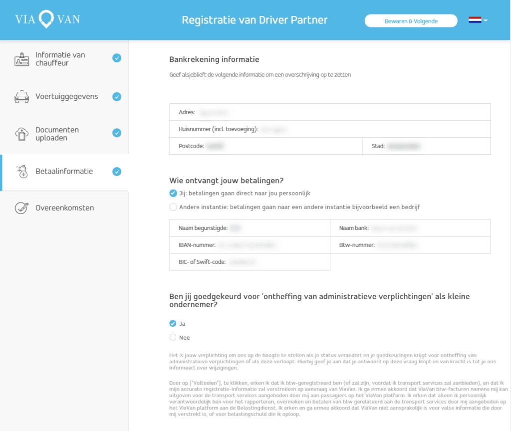 ViaVan registratie scherm met betaalinformatie