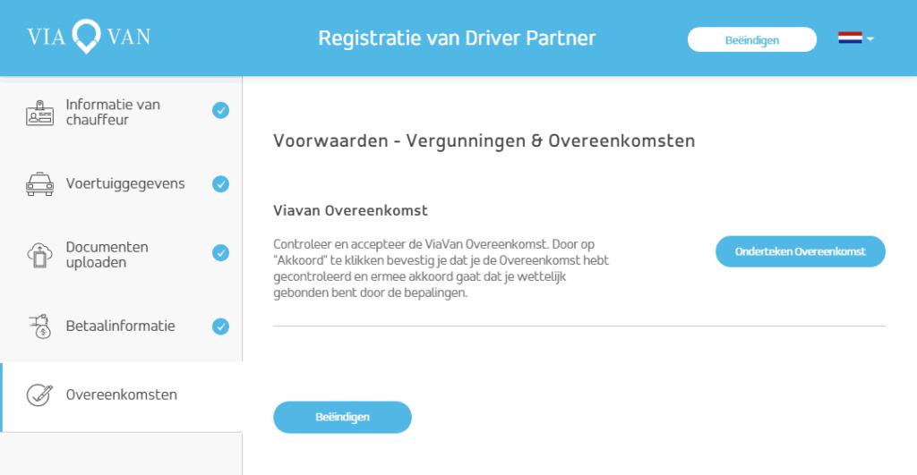 ViaVan registratie scherm met overeenkomst