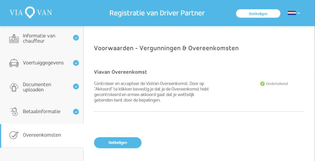 ViaVan registratie scherm met ondertekende overeenkomst