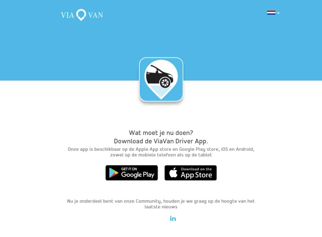 Scherm na afronding van ViaVan registratie met play en app store logo
