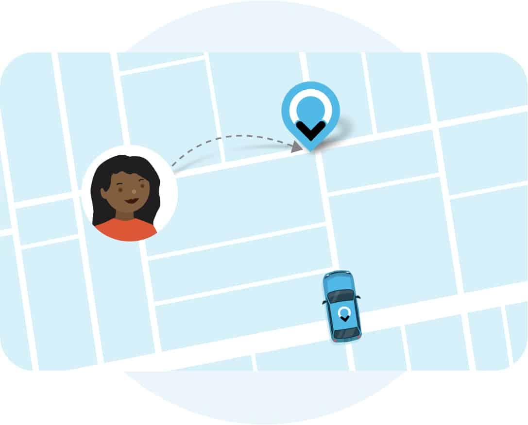 Illustratie van ViaVan kaart met taxi, marker en vrouw