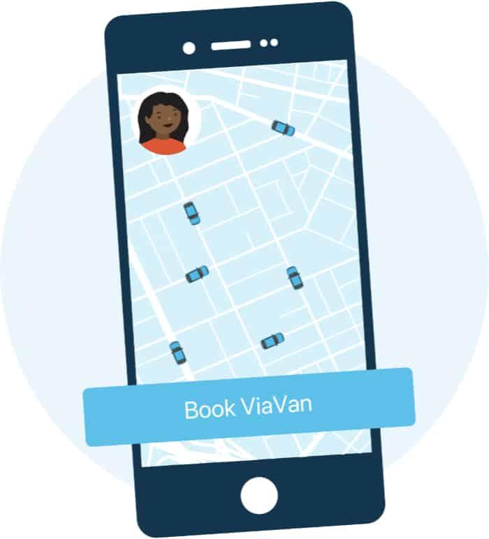 Illustratie van smartphone met ViaVan app voor het boeken van een taxi