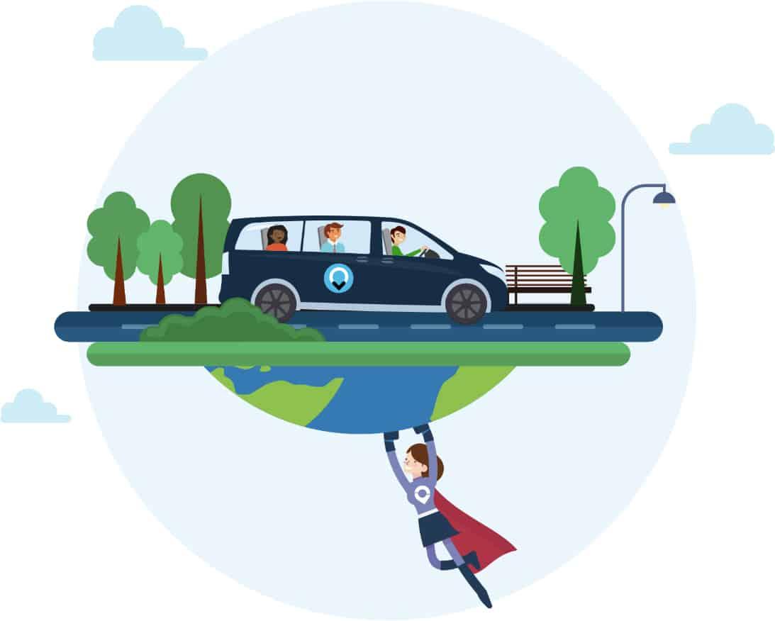 Illustratie van ViaVan taxi met 3 personen en aardbol die gered wordt