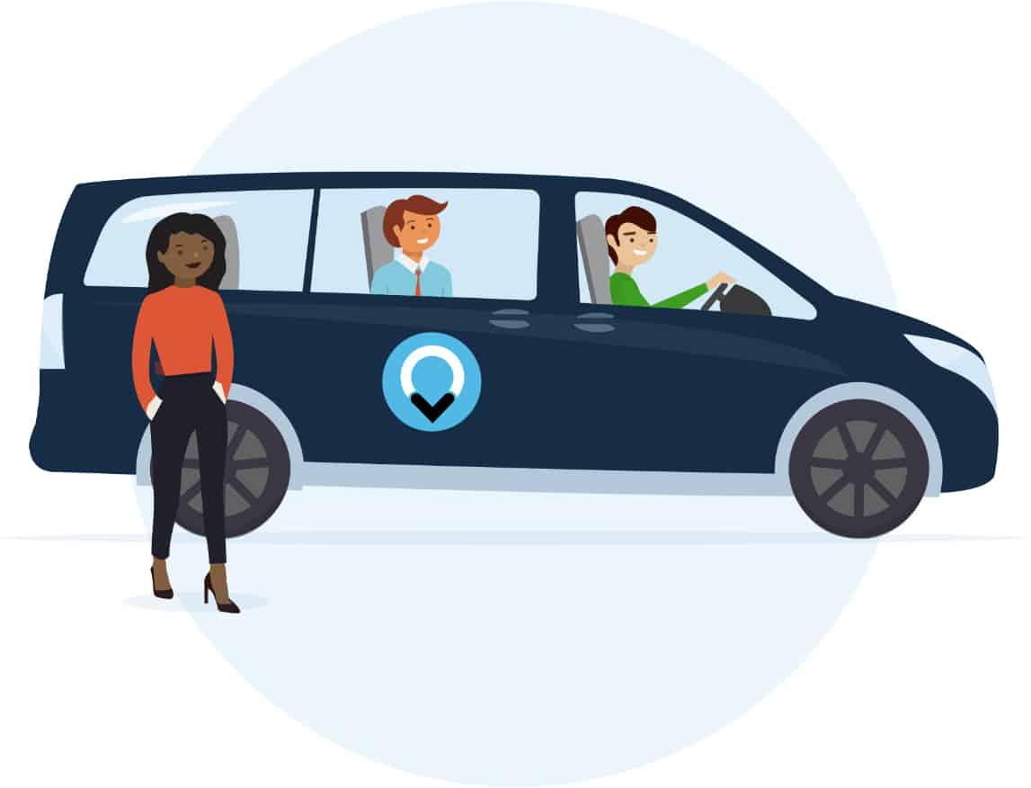 Illustratie van vrouw voor ViaVan taxi met 2 personen in de auto