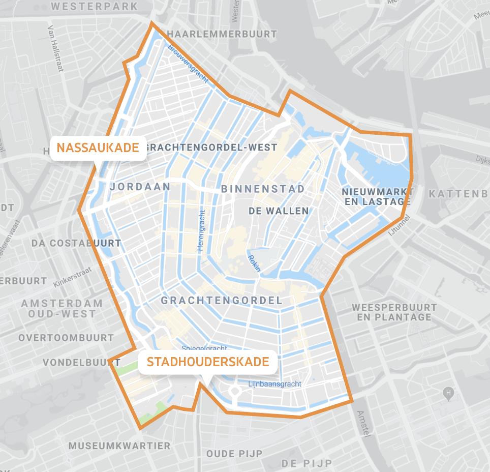 Map van binnenstad amsterdam met ViaVan markering