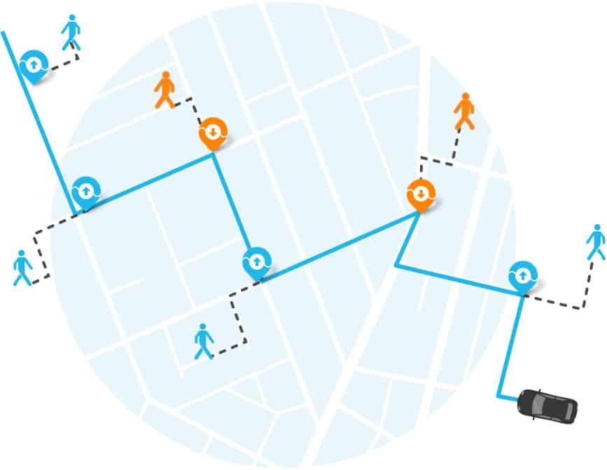Map met viavan ophaalpunten en bestemmingen