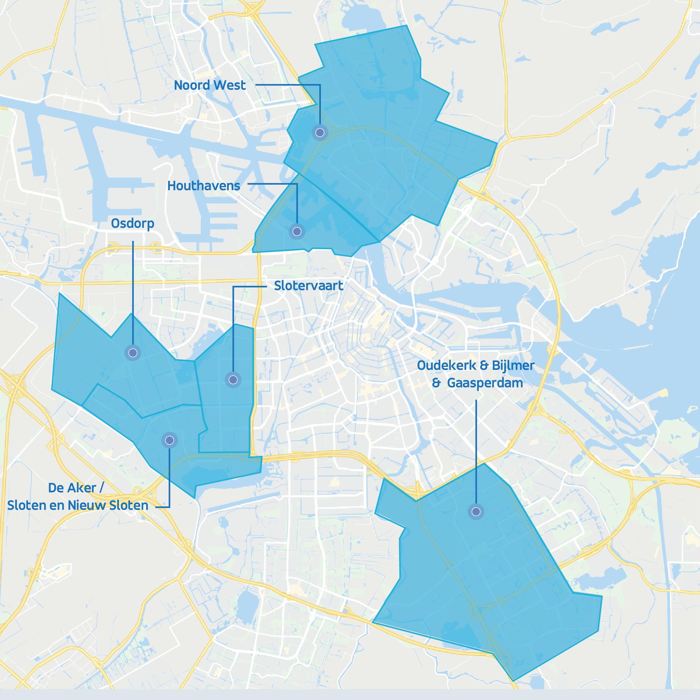 ViaVan map van Amsterdam met 3 gebieden gemarkeerd